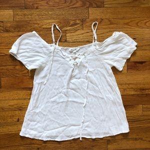 White open shoulder short sleeve blouse top